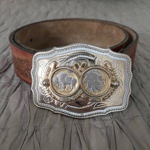 Vintage Leather Belt with Buffalo Nickel Buckle